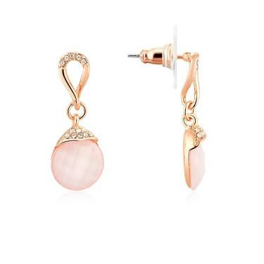 August Woods Pink Moonstone Drop Earrings  - Click to view larger image