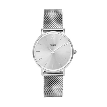 CLUSE Minuit Full Silver Mesh Watch  - Click to view larger image
