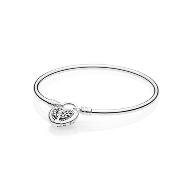 Pandora Flourishing Heart Padlock Silver Bracelet  - Click to view larger image