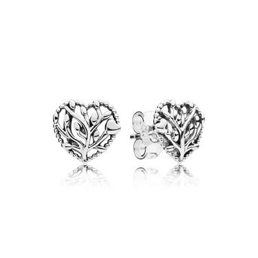 Pandora Flourishing Hearts Stud Earrings  - Click to view larger image