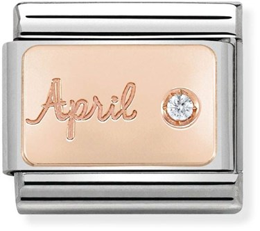 Nomination Rose Gold April Diamond Charm  - Click to view larger image