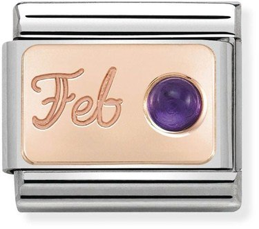 Nomination Rose Gold February Amethyst Charm  - Click to view larger image