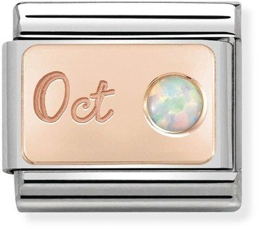 Nomination Rose Gold October Opal Charm  - Click to view larger image