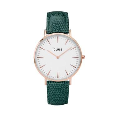 CLUSE La Bohème Rose gold White Emerald Lizard Watch  - Click to view larger image