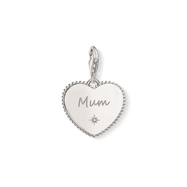 Thomas Sabo Silver Mum Heart Charm  - Click to view larger image
