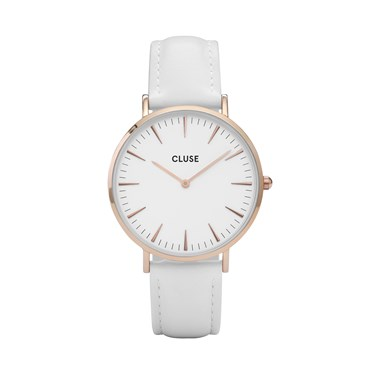 CLUSE La Bohème White Leather Rose gold Watch  - Click to view larger image