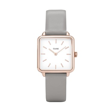 CLUSE La Tetragone Grey Leather Rose gold Detailed Watch  - Click to view larger image