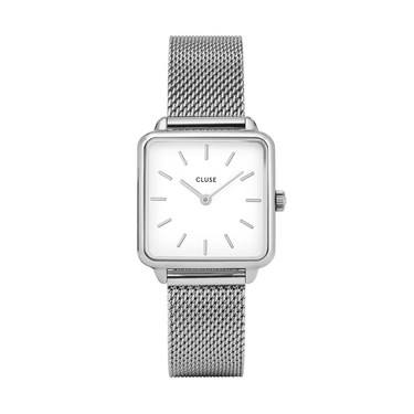 CLUSE La Tetragone Silver Mesh White Dial Watch  - Click to view larger image