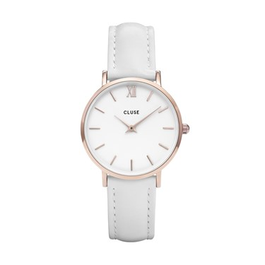 CLUSE Minuit White Leather Rose gold Watch  - Click to view larger image