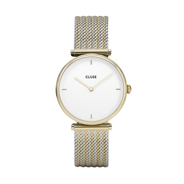 CLUSE Triomphe Gold Mix Mesh Watch  - Click to view larger image