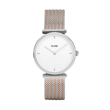 CLUSE Triomphe Silver Mix Mesh Watch  - Click to view larger image