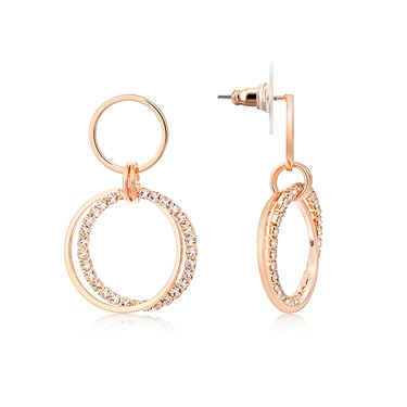 August Woods Rose Gold Sparkling Circles Earrings  - Click to view larger image