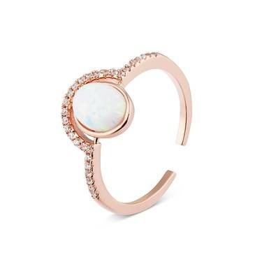 Dirty Ruby Rose Gold Circle Opal CZ Ring  - Click to view larger image