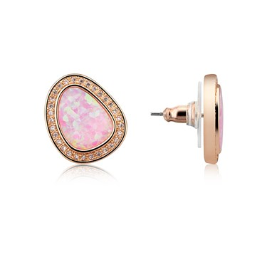 August Woods Rose Gold CZ Pink Opal Stud Earring  - Click to view larger image