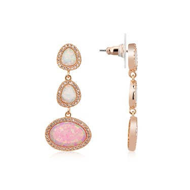August Woods Rose Gold CZ Pink Opal Earring  - Click to view larger image