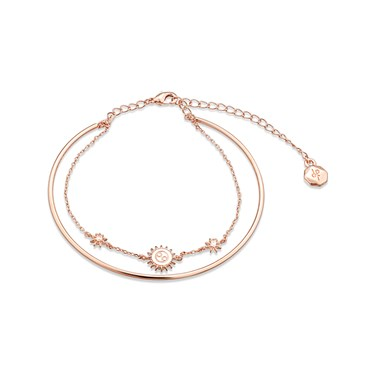 Dirty Ruby Rose Gold Layer CZ Cancer Bracelet  - Click to view larger image