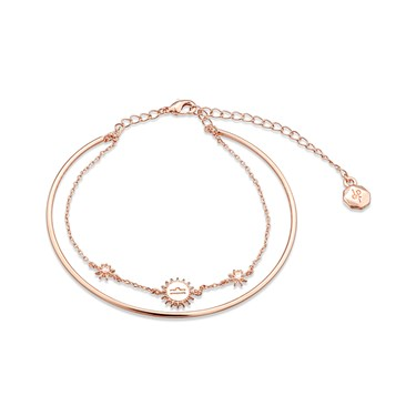 Dirty Ruby Rose Gold Layer CZ Libra Bracelet  - Click to view larger image
