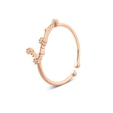 Dirty Ruby Rose Gold Gemini Ring  - Click to view larger image