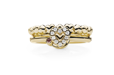 Pandora 14k Gold Heart Rings Set