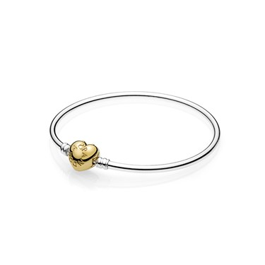 Pandora Moments Silver Bangle, PANDORA Shine Logo Heart   - Click to view larger image