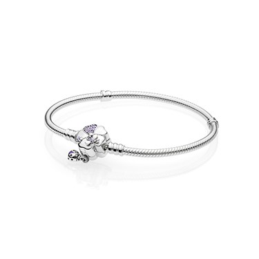 Pandora Moments Silver Bracelet, Wildflower Meadow Clasp  - Click to view larger image