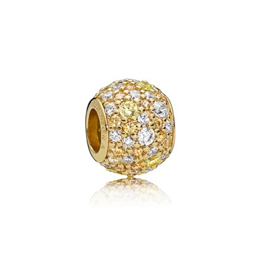 Pandora Shine Golden Mix Pavé Ball Charm  - Click to view larger image