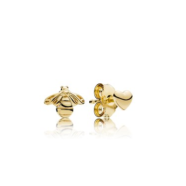 Pandora Shine Heart & Bee Stud Earrings  - Click to view larger image