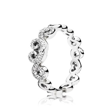 Pandora Heart Swirls Band Ring  - Click to view larger image