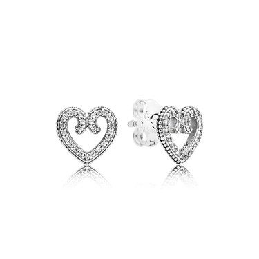 Pandora Heart Swirls Stud Earrings  - Click to view larger image
