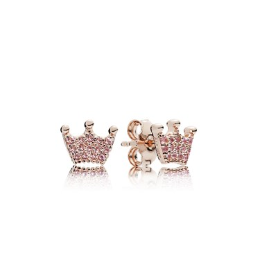 PANDORA Rose Pink Enchanted Crowns Stud Earrings  - Click to view larger image