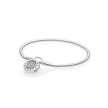 Pandora Moments Smooth Silver Bracelet, PANDORA Signature Padlock  - Click to view larger image