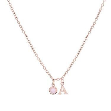 Dirty Ruby Rose Gold Letter A CZ Necklace  - Click to view larger image
