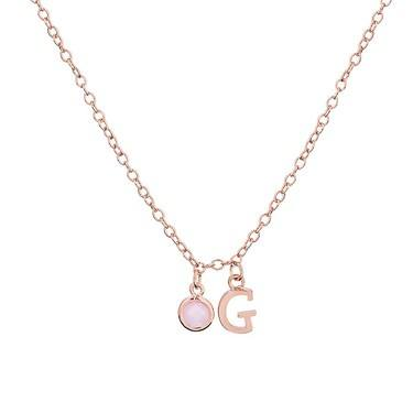 Dirty Ruby Rose Gold Letter G CZ Necklace  - Click to view larger image