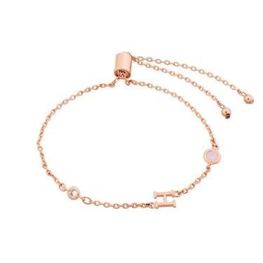 Dirty Ruby Rose Gold Letter H CZ Bracelet  - Click to view larger image