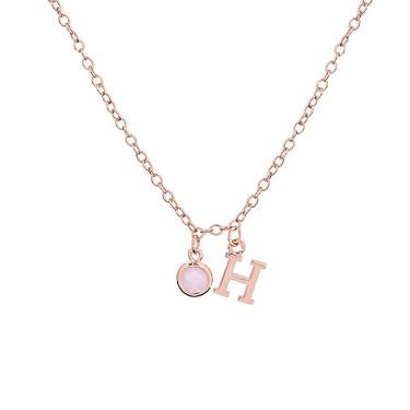 3efc44c7f Dirty Ruby Rose Gold Letter H CZ Necklace - Click to view larger image