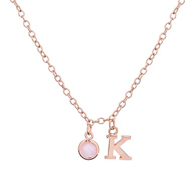 Dirty Ruby Rose Gold Letter K CZ Necklace  - Click to view larger image