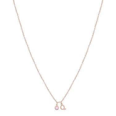 Dirty Ruby Rose Gold Letter Q CZ Necklace  - Click to view larger image