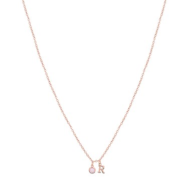 Dirty Ruby Rose Gold Letter R CZ Necklace  - Click to view larger image