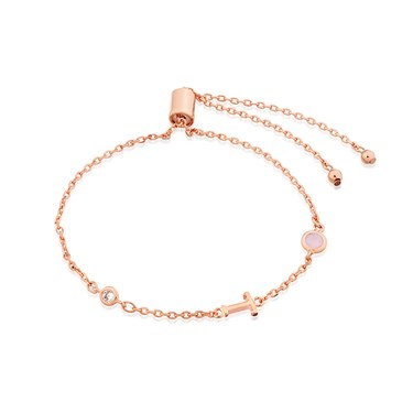 Dirty Ruby Rose Gold Letter T CZ Bracelet  - Click to view larger image