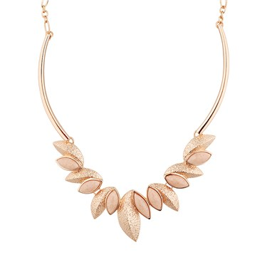 August Woods Rose Gold Pink Geo Leaf Detail Necklace  - Click to view larger image