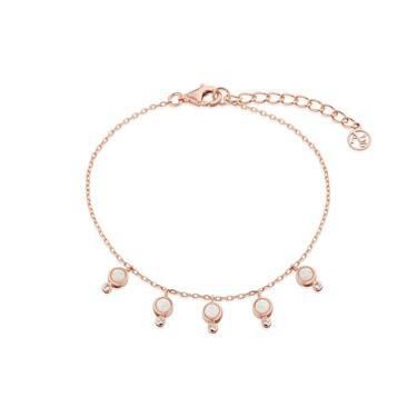 Argento Rose Gold  White Opal Drop Bracelet - Rose Gold