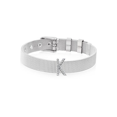 Karma Sparkle K Silver Charm  - Click to view larger image