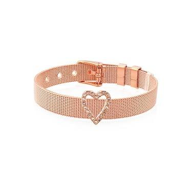 Karma Open Rose Gold CZ Heart Charm  - Click to view larger image