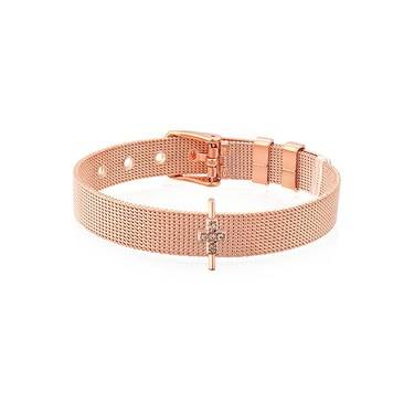 Karma Rose Gold CZ Cross Charm  - Click to view larger image