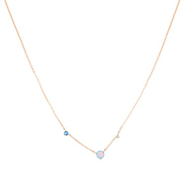 Argento Rose Gold Blue Opal Pebble Necklace  - Click to view larger image