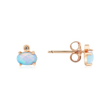Argento Rose Gold Blue Opal  Round Stud Earrings  - Click to view larger image