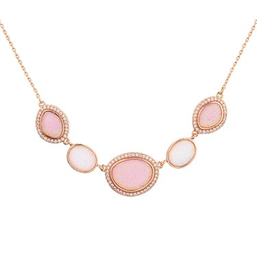 August Woods Rose Gold CZ Pink Opal Necklace  - Click to view larger image