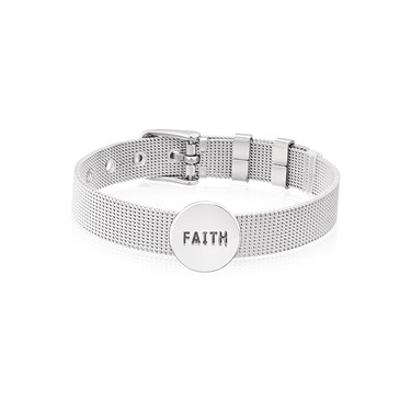 Karma Silver Circle Faith Charm  - Click to view larger image