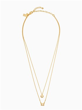 Kate Spade New York Elegant Edge Gold Double Pendant Necklace  - Click to view larger image