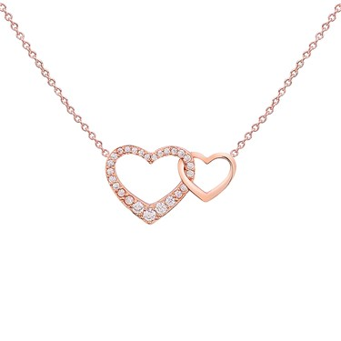 August Woods Rose Gold CZ Link Plain Heart Necklace  - Click to view larger image